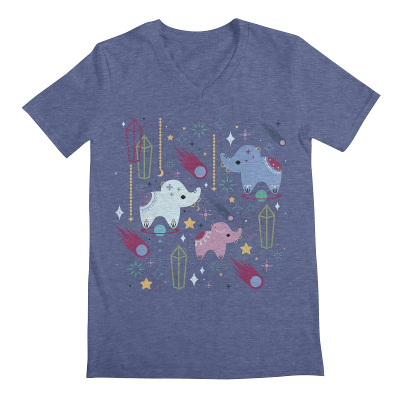 Elephants in Space  Men's V-Neck by carlywatts's Shop