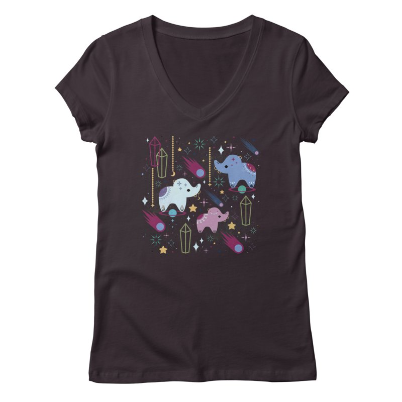 Elephants in Space  Women's V-Neck by carlywatts's Shop