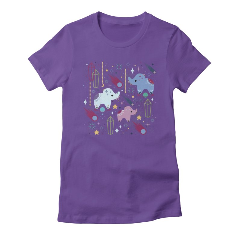 Elephants in Space  Women's Fitted T-Shirt by carlywatts's Shop
