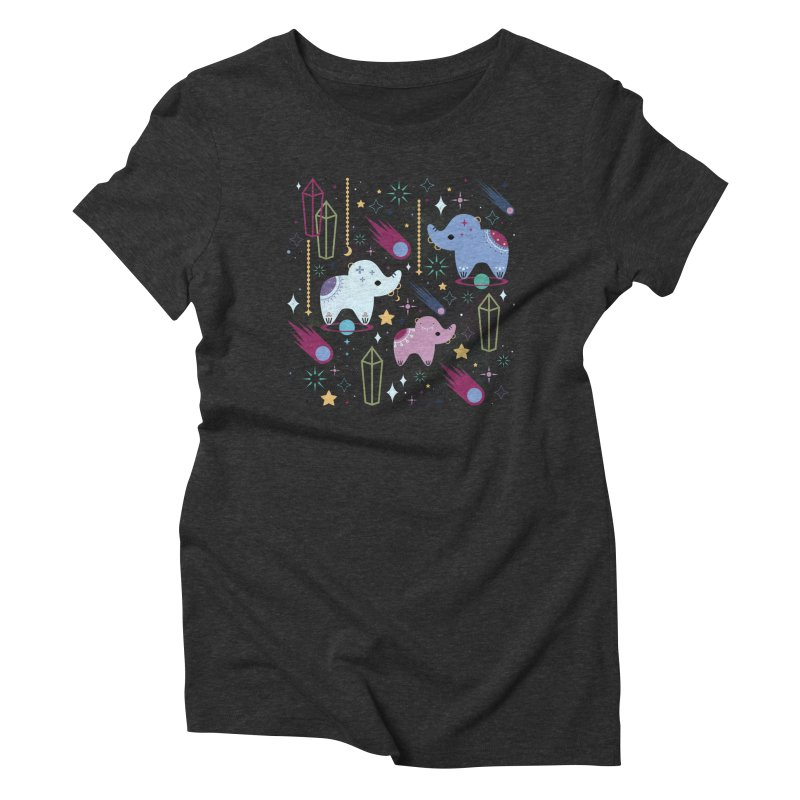 Elephants in Space  Women's Triblend T-shirt by carlywatts's Shop