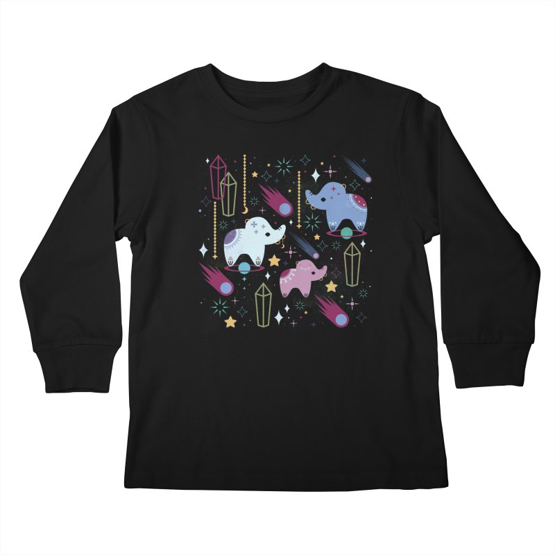 Elephants in Space  Kids Longsleeve T-Shirt by carlywatts's Shop