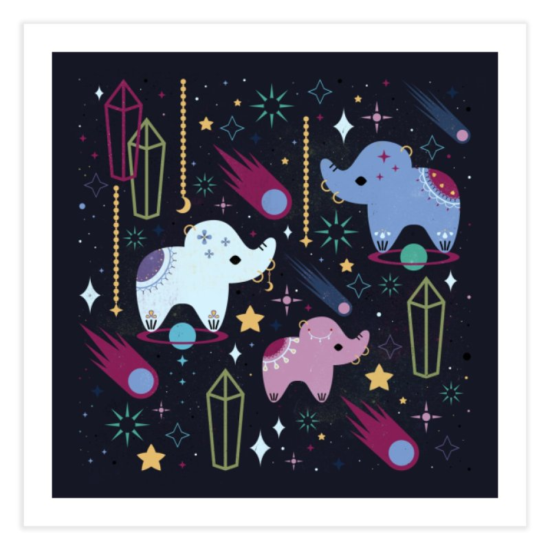 Elephants in Space  Home Fine Art Print by carlywatts's Shop