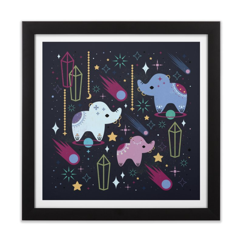 Elephants in Space  Home Framed Fine Art Print by carlywatts's Shop