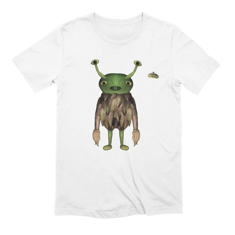 Alien in Men's Extra Soft T-Shirt White by Carrie Webster's Artist Shop