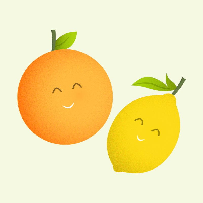 Happy Orange and Lemon Women's T-Shirt by cartoonbeing's Artist Shop