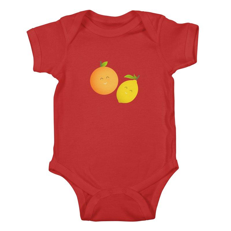 Happy Orange and Lemon Kids Baby Bodysuit by cartoonbeing's Artist Shop