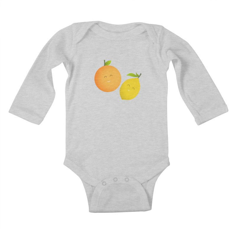 Happy Orange and Lemon Kids Baby Longsleeve Bodysuit by cartoonbeing's Artist Shop