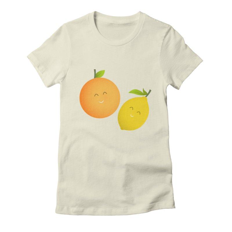 Happy Orange and Lemon Women's T-Shirt by cartoonbeing's Artist Shop