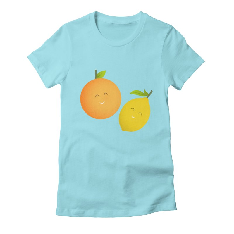 Happy Orange and Lemon Women's Fitted T-Shirt by cartoonbeing's Artist Shop