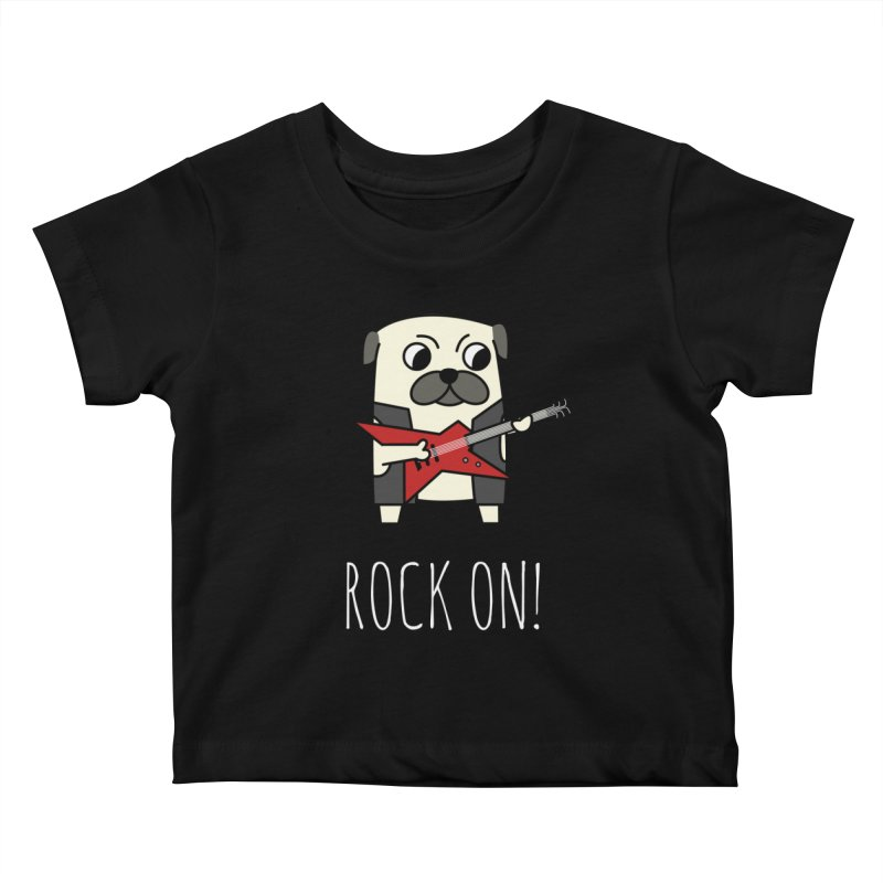 Rockstar Pug Kids Baby T-Shirt by cartoonbeing's Artist Shop