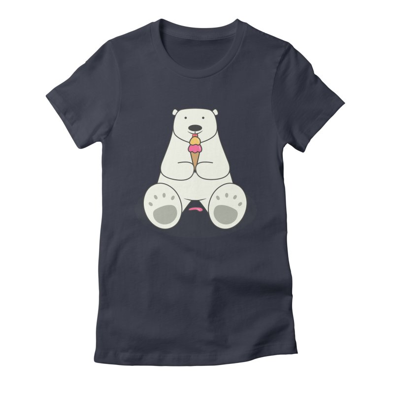 Ice Cream Lover Polar Bear Women's Fitted T-Shirt by cartoonbeing's Artist Shop