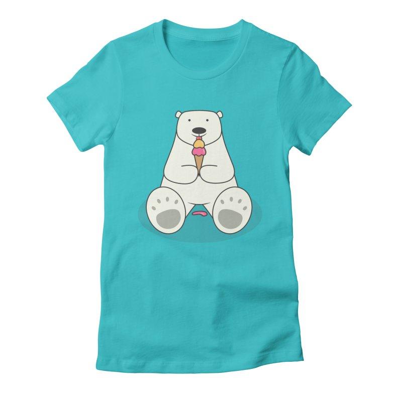 Ice Cream Lover Polar Bear Women's Fitted T-Shirt by cartoonbeing's Artist Shop