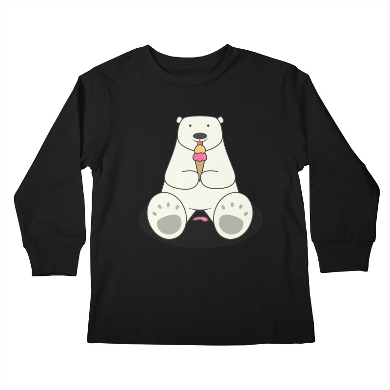 Ice Cream Lover Polar Bear Kids Longsleeve T-Shirt by cartoonbeing's Artist Shop