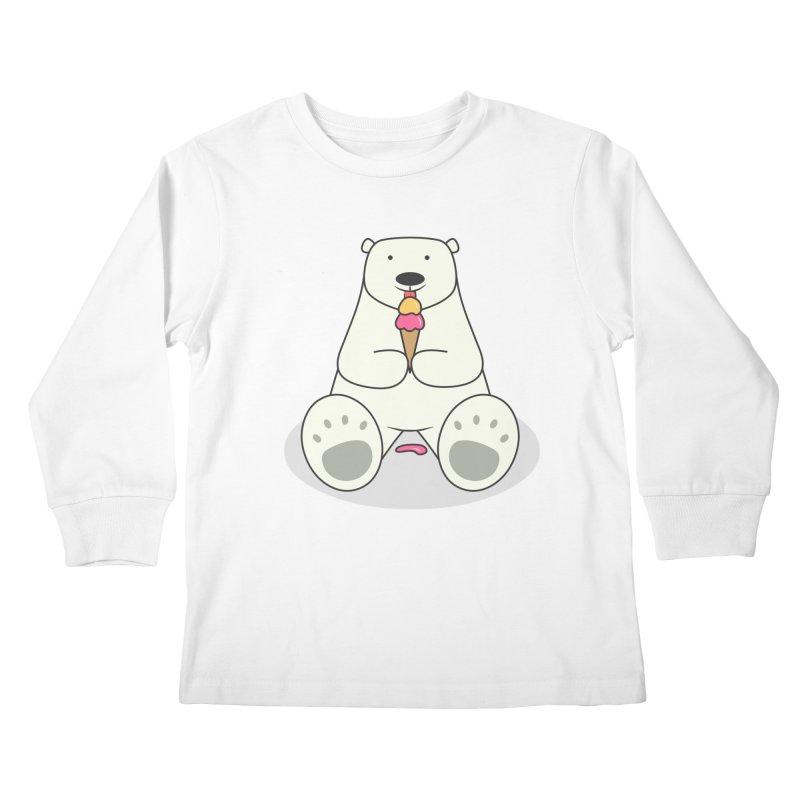 Ice Cream Lover Polar Bear Kids Longsleeve T-Shirt by cartoonbeing's Artist Shop