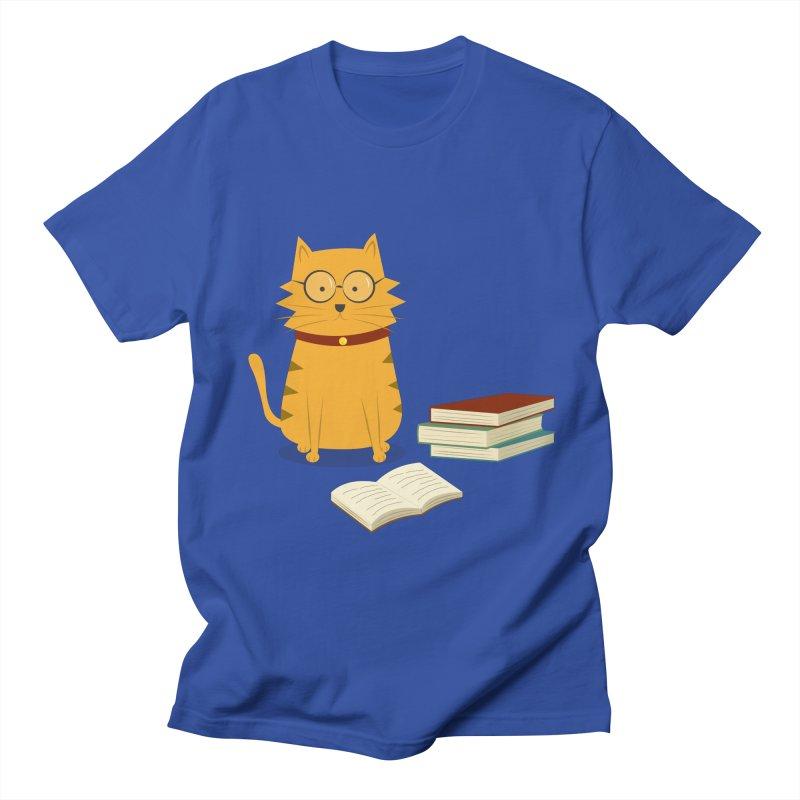 Nerdy Cat Men's Regular T-Shirt by cartoonbeing's Artist Shop