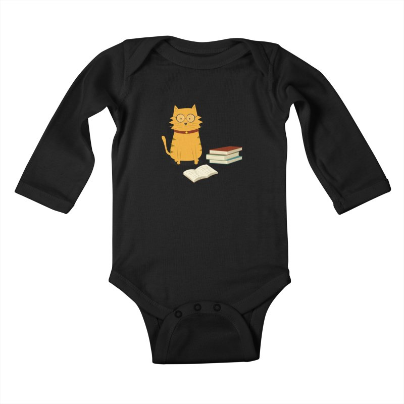 Nerdy Cat Kids Baby Longsleeve Bodysuit by cartoonbeing's Artist Shop