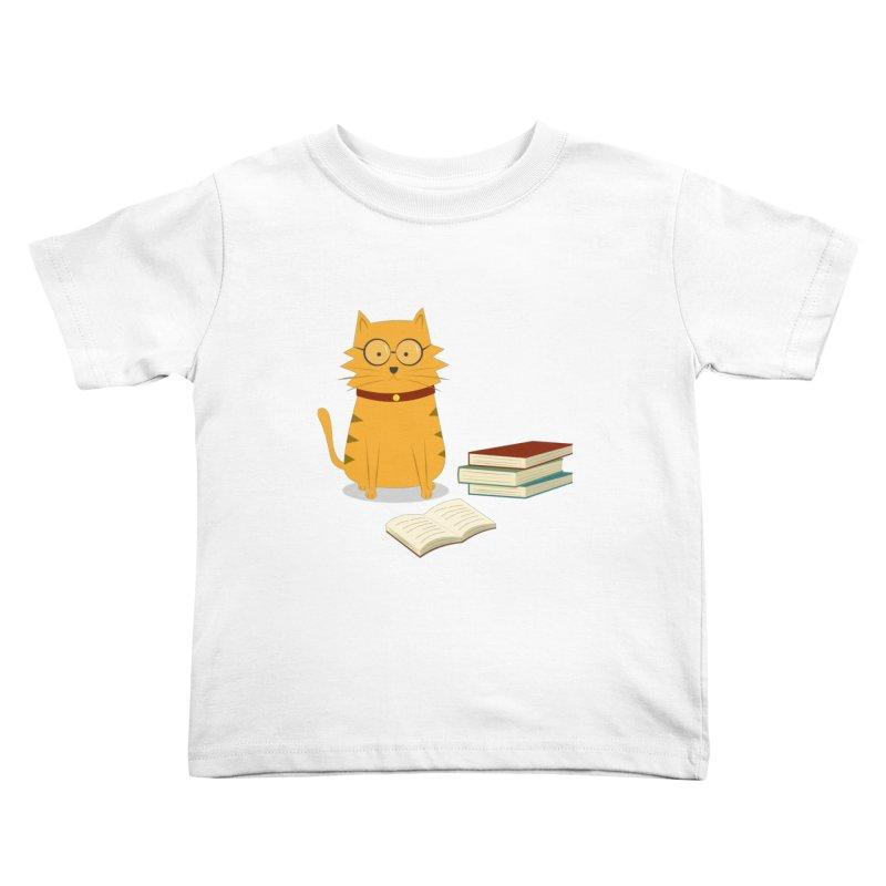 Nerdy Cat Kids Toddler T-Shirt by cartoonbeing's Artist Shop
