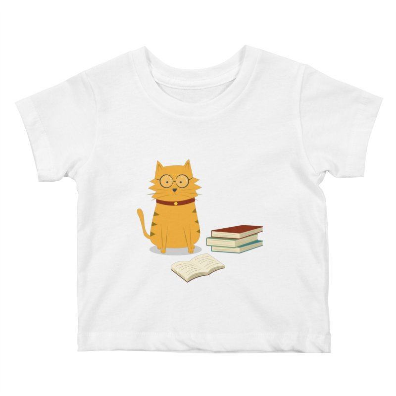 Nerdy Cat Kids Baby T-Shirt by cartoonbeing's Artist Shop