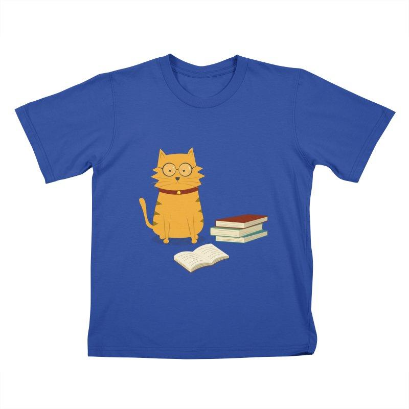 Nerdy Cat Kids T-Shirt by cartoonbeing's Artist Shop