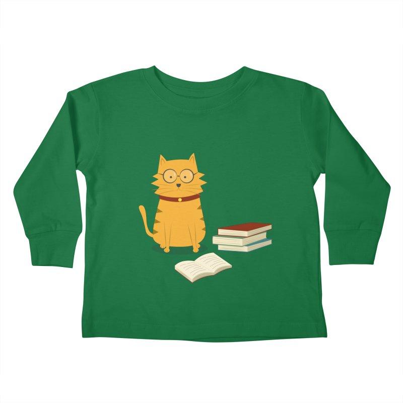 Nerdy Cat Kids Toddler Longsleeve T-Shirt by cartoonbeing's Artist Shop