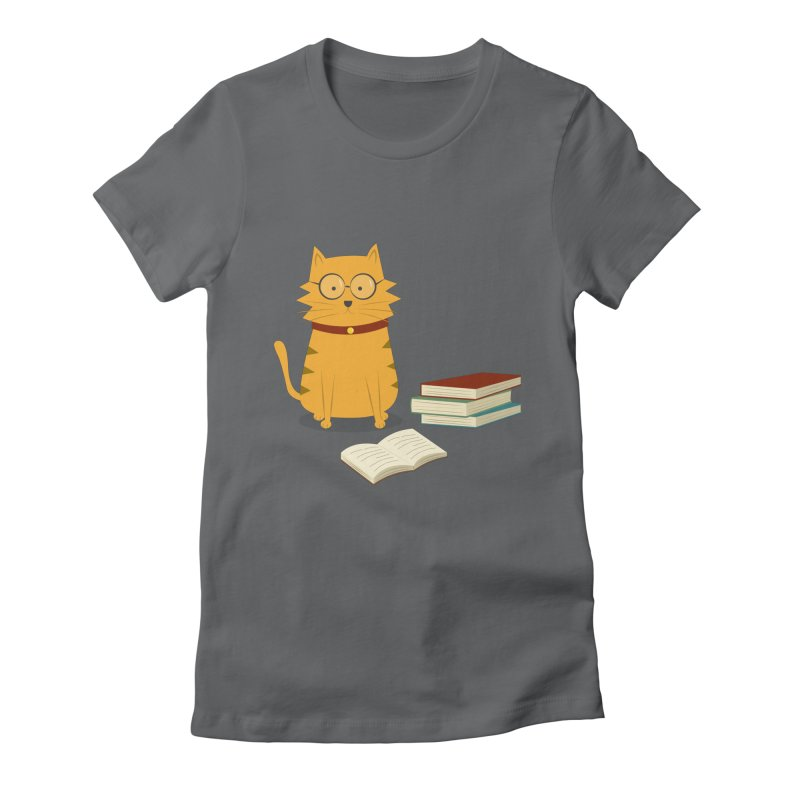 Nerdy Cat in Women's Fitted T-Shirt Heavy Metal by cartoonbeing's Artist Shop