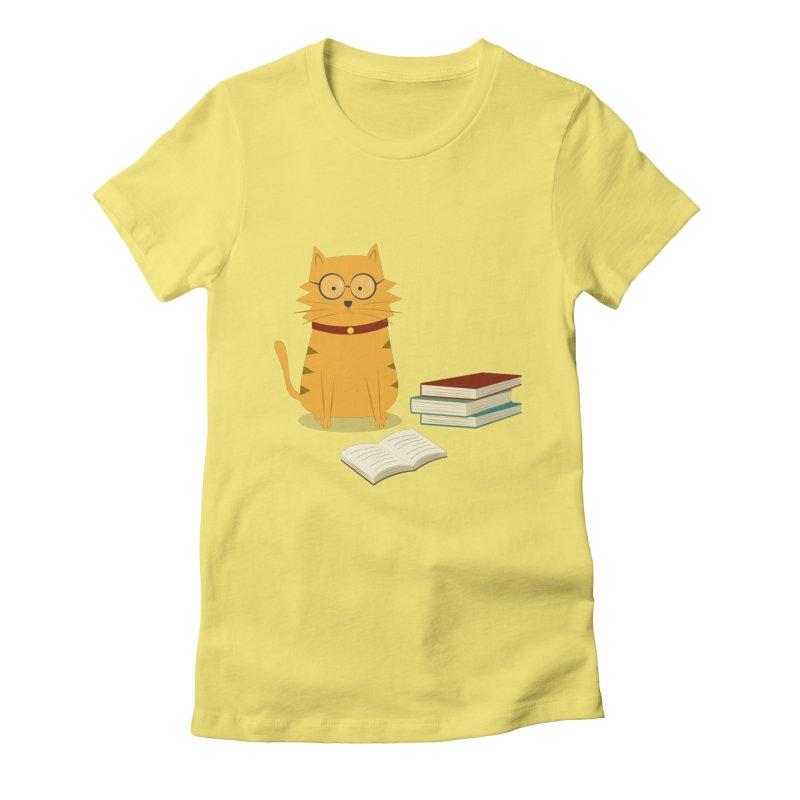 Nerdy Cat Women's Fitted T-Shirt by cartoonbeing's Artist Shop