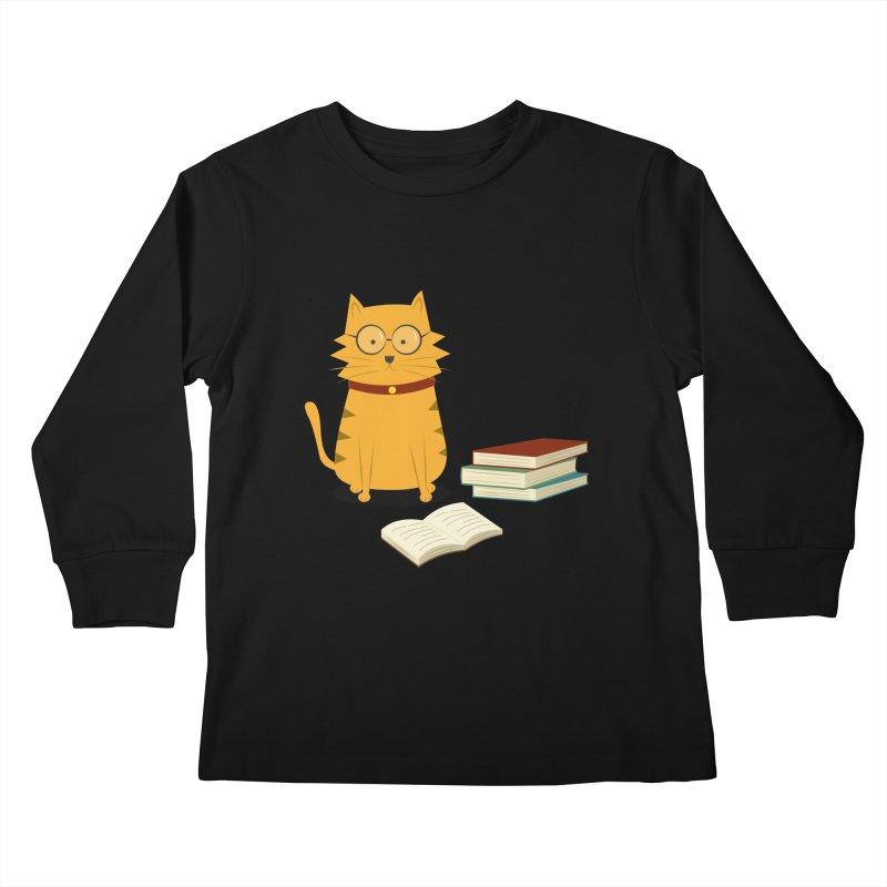 Nerdy Cat Kids Longsleeve T-Shirt by cartoonbeing's Artist Shop