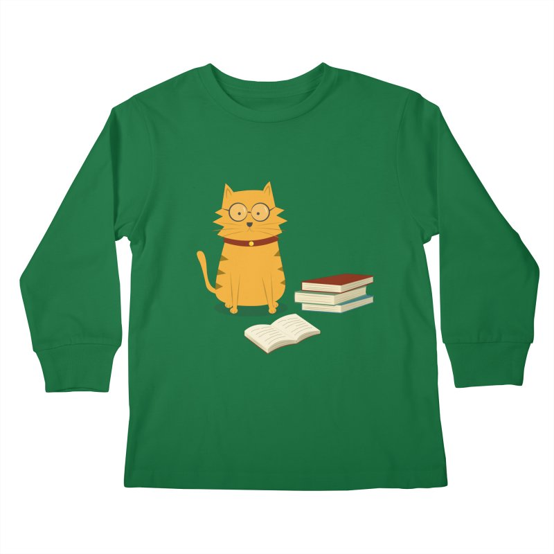 Nerdy Cat Kids Longsleeve T-Shirt by cartoonbeing's Artist Shop