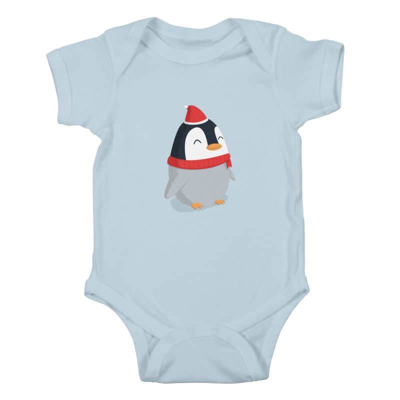 Christmas Penguin Kids Baby Bodysuit by cartoonbeing's Artist Shop