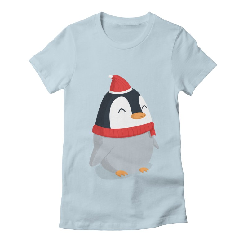 Christmas Penguin in Women's Fitted T-Shirt Baby Blue by cartoonbeing's Artist Shop