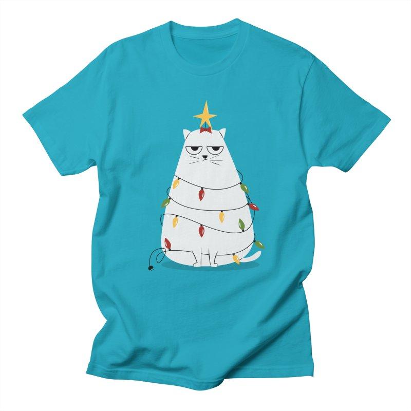 Grumpy Christmas Cat Men's Regular T-Shirt by cartoonbeing's Artist Shop