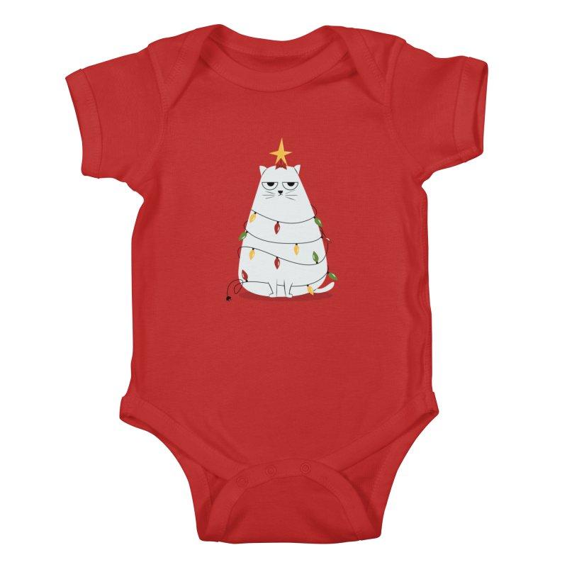 Grumpy Christmas Cat Kids Baby Bodysuit by cartoonbeing's Artist Shop