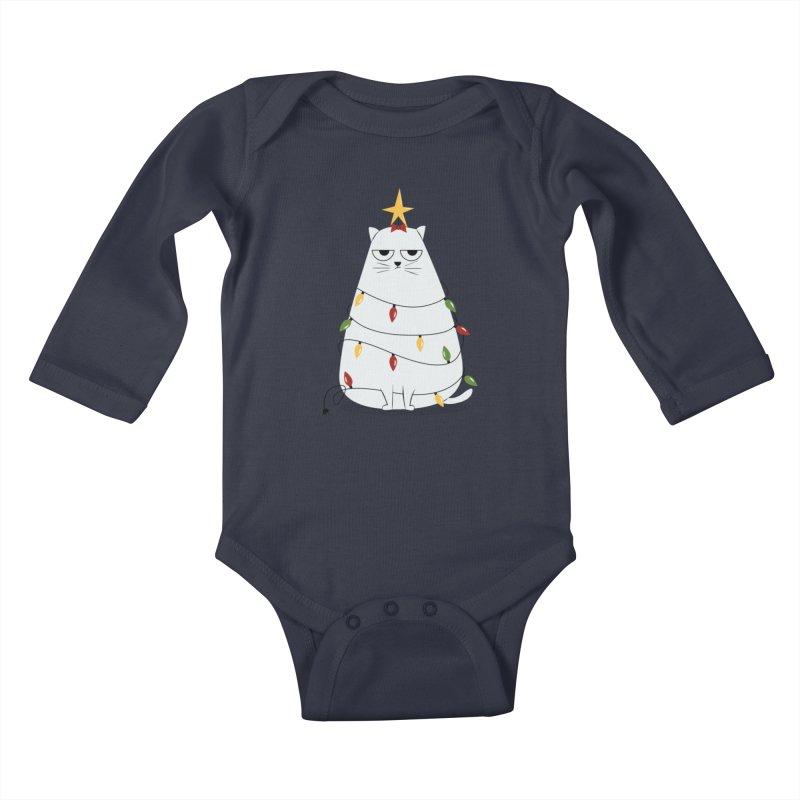 Grumpy Christmas Cat Kids Baby Longsleeve Bodysuit by cartoonbeing's Artist Shop