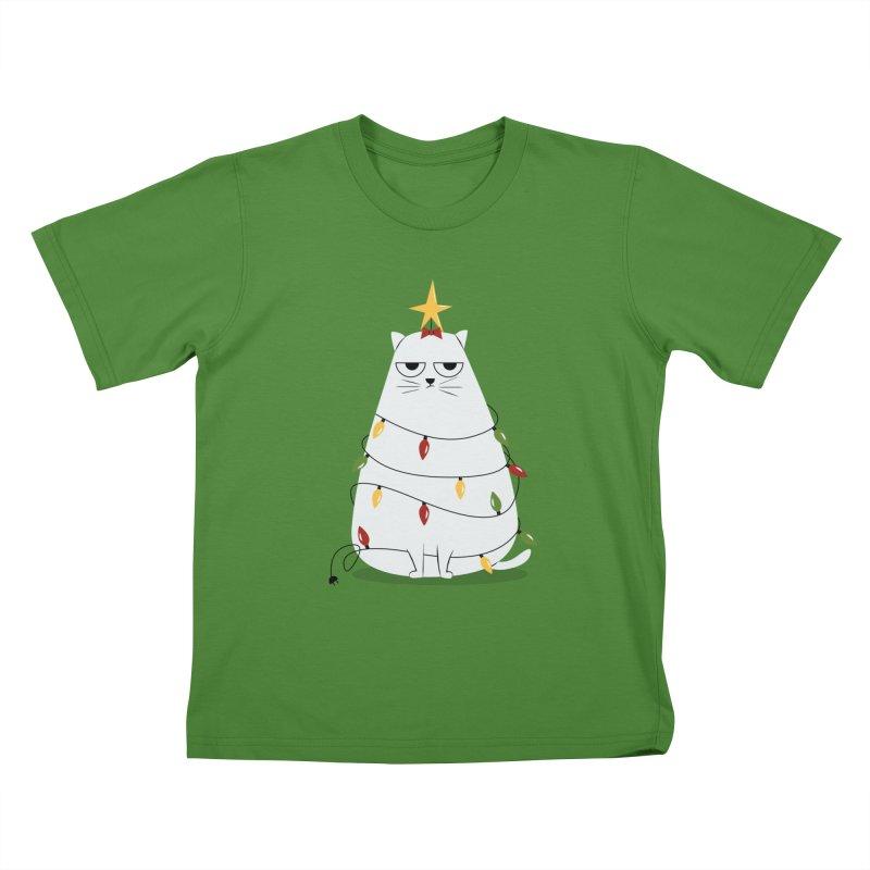 Grumpy Christmas Cat Kids T-Shirt by cartoonbeing's Artist Shop
