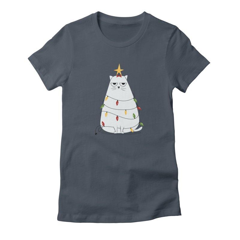 Grumpy Christmas Cat Women's T-Shirt by cartoonbeing's Artist Shop
