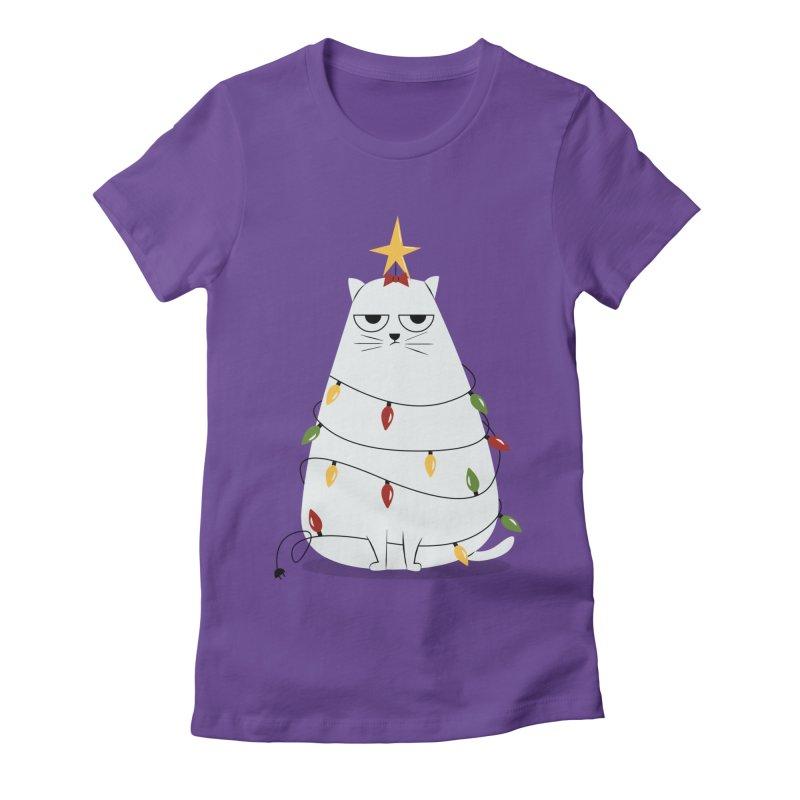Grumpy Christmas Cat Women's Fitted T-Shirt by cartoonbeing's Artist Shop