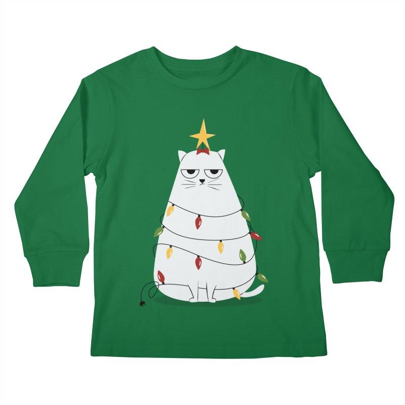 Grumpy Christmas Cat Kids Longsleeve T-Shirt by cartoonbeing's Artist Shop