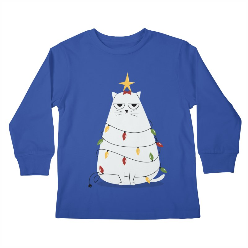 Grumpy Christmas Cat Kids Longsleeve T-Shirt by cartoonbeing's Artist Shop