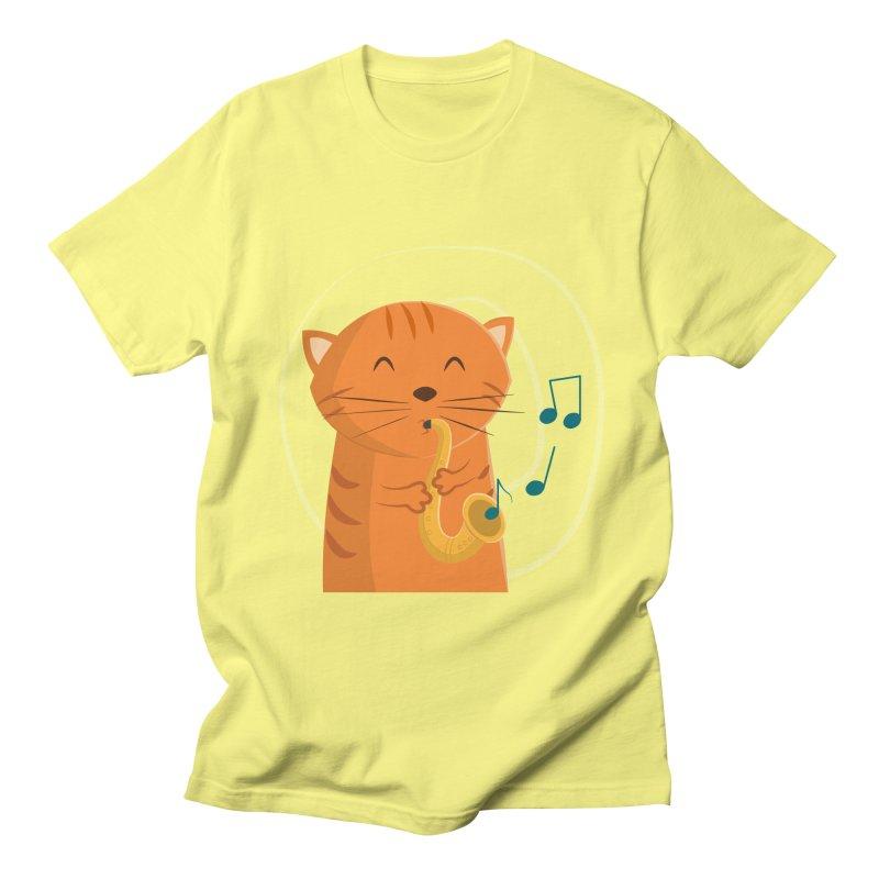 Jazz Cat Men's Regular T-Shirt by cartoonbeing's Artist Shop