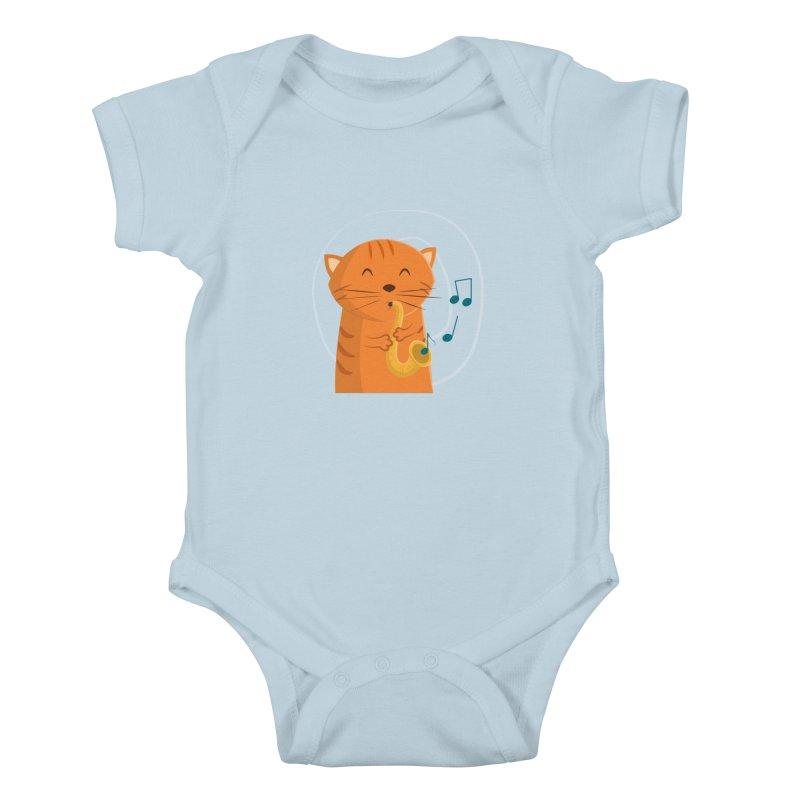 Jazz Cat Kids Baby Bodysuit by cartoonbeing's Artist Shop