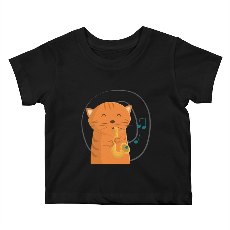 Jazz Cat Kids Baby T-Shirt by cartoonbeing's Artist Shop