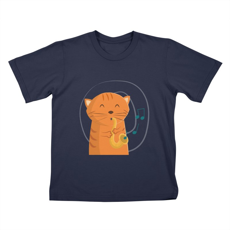 Jazz Cat in Kids T-Shirt Navy by cartoonbeing's Artist Shop