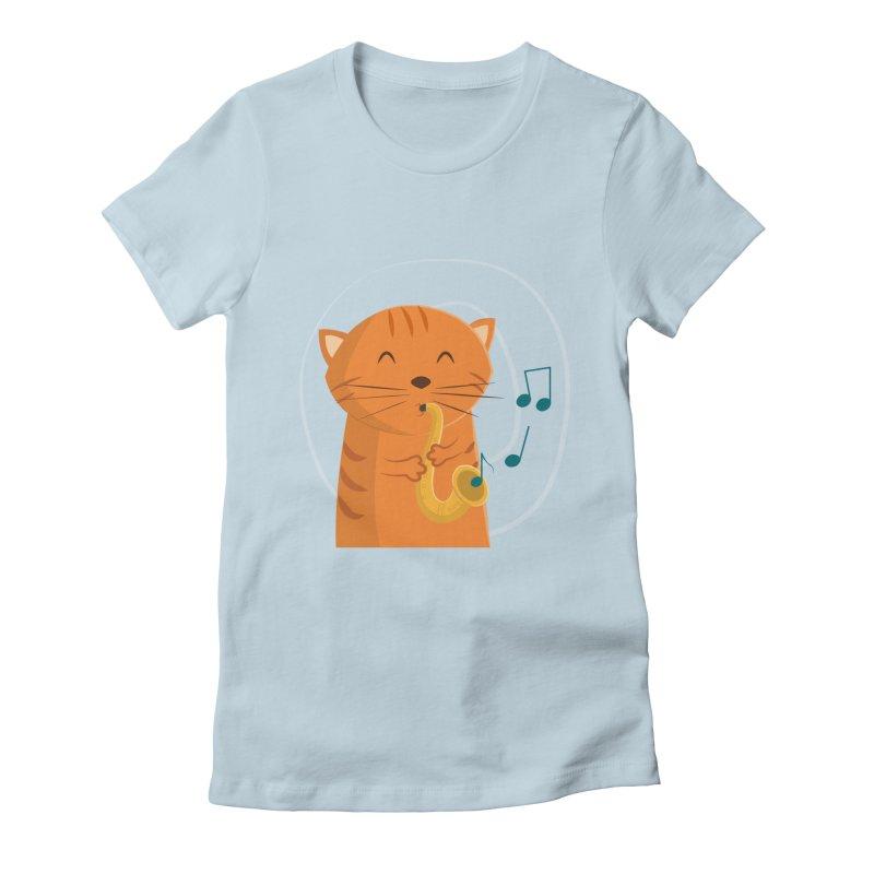 Jazz Cat Women's Fitted T-Shirt by cartoonbeing's Artist Shop