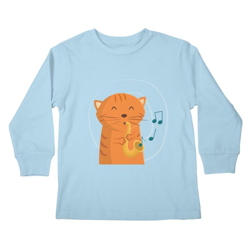 Jazz Cat Kids Longsleeve T-Shirt by cartoonbeing's Artist Shop