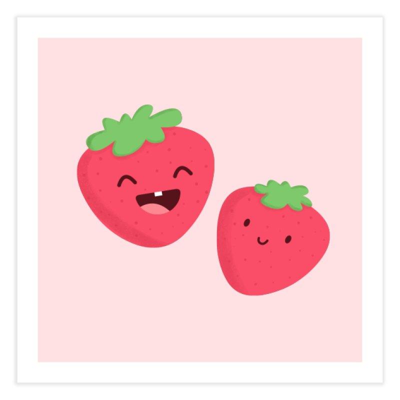 Happy Strawberries Home Fine Art Print by cartoonbeing's Artist Shop