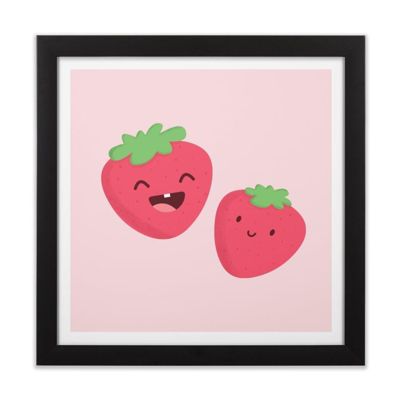 Happy Strawberries Home Framed Fine Art Print by cartoonbeing's Artist Shop