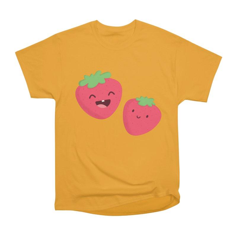 Happy Strawberries Women's Heavyweight Unisex T-Shirt by cartoonbeing's Artist Shop
