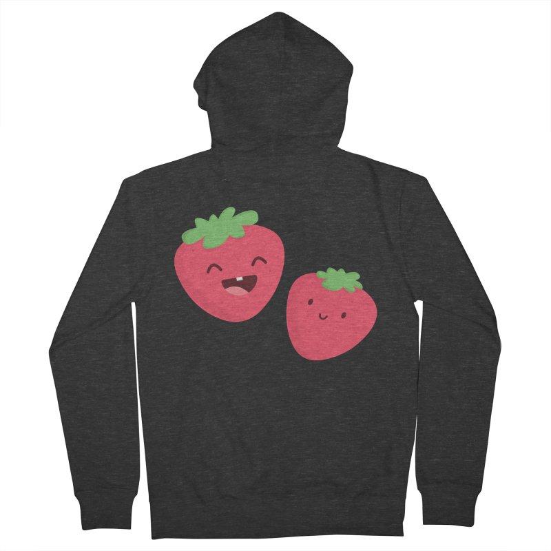 Happy Strawberries Women's French Terry Zip-Up Hoody by cartoonbeing's Artist Shop