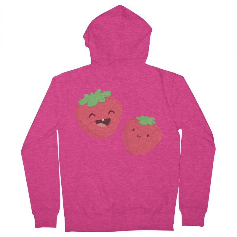 Happy Strawberries Women's French Terry Zip-Up Hoody by cartoonbeing's Artist Shop