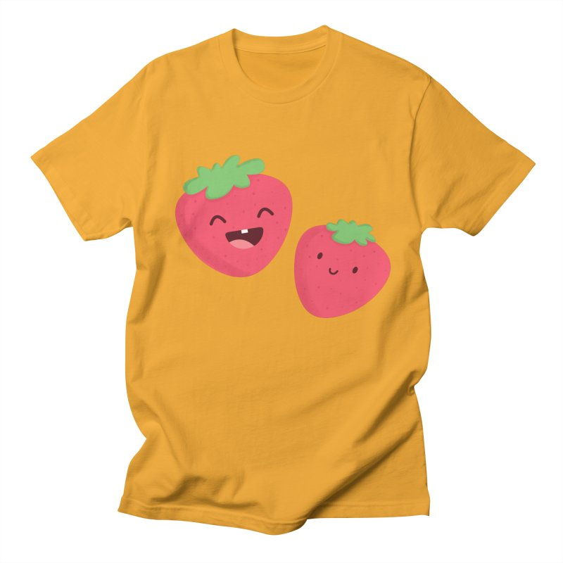 Happy Strawberries Women's Regular Unisex T-Shirt by cartoonbeing's Artist Shop